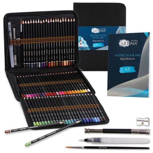 Комплект 72бр. акварелни моливи + скицник А5 Artina Aquarellia в текстилен несесер