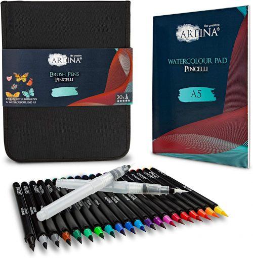 Комплект за калиграфия Artina Pincelli 20бр. цветни писалки+2бр. акварелни писалки